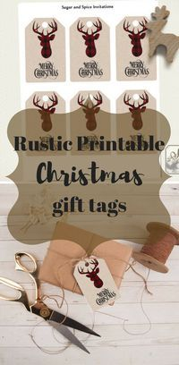 Rustic Christmas gift tags printable, Reindeer buffalo plaid gift tags, Holiday Gift Tags, Christmas tags printable, Rustic Tags!! #christmas #printables #affiliate