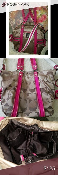 "COACH Pink Poppy Signature Shoulder Bag F13843 Gently used and beautiful.   Khaki Signature fabric with Pink leather trim Inside zip and multifunction pockets Zip top closure, fabric lining Outside front zip pockets Outside front slip pocket Handles with 5.5"" drop Longer strap with 12"" drop Approximately: 14"" L x 11"" H x 3.5"" W  ***Bag has been previously cleaned but the white/pink long strap still shows some light dirt around the edges. Coach Bags Shoulder Bags"