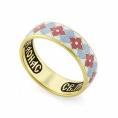 Православное кольцо с эмалью 'Молитва прп. Серафиму Саровскому' из золота КЗЭ0301