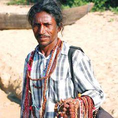 Bead seller in Goa.