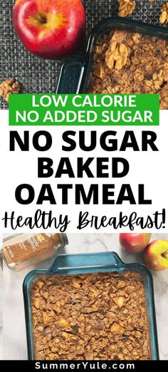 How do you make low calorie baked oatmeal? Try my no sugar baked oatmeal recipe! This spin on Amish baked oatmeal uses apples, raisins, and mashed banana for plenty of sweetness with no sugar added. It's delicious, comforting, and only 374 calories per serving! Keep reading to learn my favorite oatmeal recipes for weight loss and thoughts on healthy baked goods. #healthyrecipes #weightloss #lowcalorie #breakfast #nosugaradded