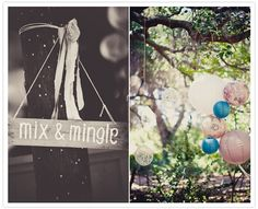 colorful paper lanterns & sign