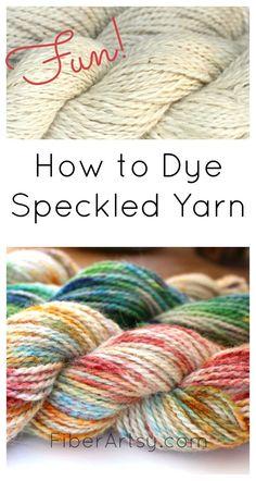 Wool Yarn with Speckles A fun yarn dyeing technique! Learn how to Dye Speckled Yarn with this super easy step-by-step tutorial.A fun yarn dyeing technique! Learn how to Dye Speckled Yarn with this super easy step-by-step tutorial. Crochet Yarn, Knitting Yarn, Crochet Pattern, Vogue Knitting, Crochet Dolls, Yarn Crafts, Fabric Crafts, Spinning Wool, Kool Aid