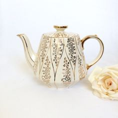 Sadler Teapot cream with Gold filigree design Sadler England teapot by EllasAtticVintage on Etsy