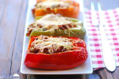 Paleo Stuffed Bell Peppers | Healthy Recipes, nix the cheese!  We used ground turkey instead of beef!!!