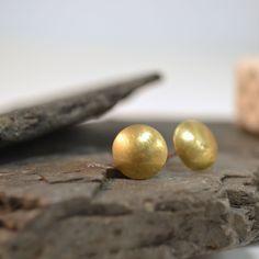 Hello sunshine! Brushed brass dome stud earrings £14.50