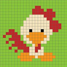 Zoodiacs Rooster Crochet Graph - One Dog Woof Pixel Crochet, C2c Crochet, Crochet Chart, Crochet Stitches, Cross Stitch Charts, Cross Stitch Designs, Cross Stitch Patterns, Loom Beading, Beading Patterns