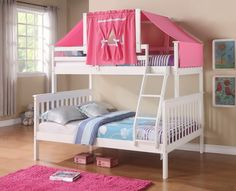 Get the most out of your space with our classic twin over full girls bunk beds with a fixed ladder and fun pink tent on top. This bunk bed feature solid pinewood construction in an attractive white fi
