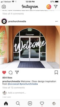 Welcome Doors, softer Church Lobby, Church Foyer, Church Office, Church Interior Design, Church Graphic Design, Church Stage Design, Church Welcome Center, Church Signs, Church Nursery
