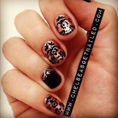 Brocade print nails!    What I Used:  -Essie Penny Talk  -Essie Licorice  -Seche Vite top coat