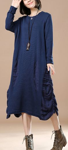 Navy drawstrings sweater dresses long sweaters oversize