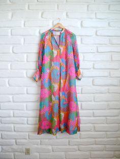 Bright 60s Mumu Dress I want to wear mumus...