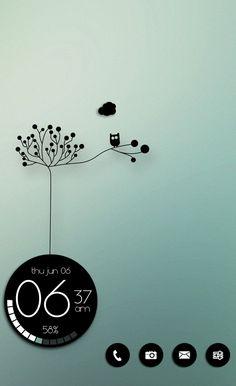 Homescreen. Nova Launcher. Zooper Widget. Black & White. Touch of Green. Andriod. Costum. Mason333.