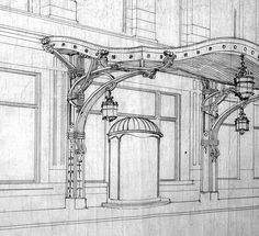 Hotel Statler architectural rendering ca. 1910. The Statler's entrances were embellished with curvilinear canopies reminiscent of Hector Guimard's entrances to the Paris Metro.