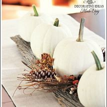 Fall table decorating ideas I love the white pumpkins and barn wood-very classy! For dining room table centerpiece