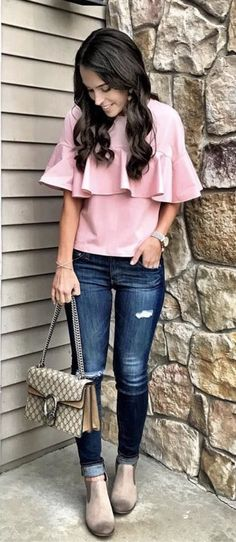 spring fashion /  Pink Top & Ripped Skinny Jeans