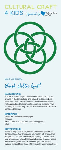 Download our Irish Celtic knit template!  http://aupairbuzz.culturalcare.com/cultural-craft-for-kids-irish-celtic-knot/