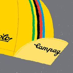 Bike Art Print, Classic Cycling Cap Print, Campagnolo Cap in Yellow
