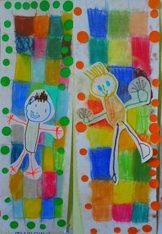 Idee a reprendre : carres au pastel gras. Cadre en gommettes. Bonhomme au pastel gras sur fond blanc, découpé puis collé sur la composition. Bonhomme# en maternelle#. PSIC# Drawing For Kids, Painting For Kids, Art For Kids, Kindergarten Crafts, Preschool Art, School Art Projects, Art School, Mosaic Portrait, Ecole Art