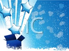 Royalty Free Clipart Image of a Festive Background With Balloons Bursting Out of a Box