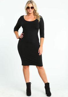 Plus Size 3/4 Sleeve Midi Dress