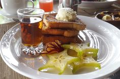 French toast topped with fruit whipped cream and syrup. 1942 Restaurant Islita, Guanacaste Costa Rica