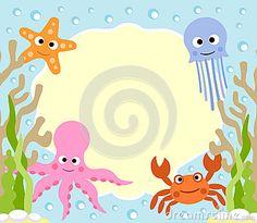 Fundo dos desenhos animados dos animais de mar