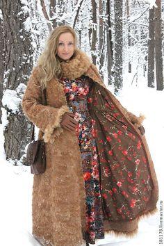 """Купить Зимнее пальто """"Рыжик"""" - коричневый, рыжий, ретро, бохо, длинное пальто, винтажный стиль"""