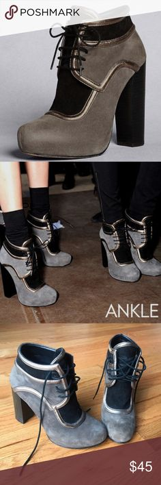 DKNY booties! Adorable DKNY boogies in gray, black, and metallic. Worn on bottoms as in pics. DKNY Shoes Ankle Boots & Booties