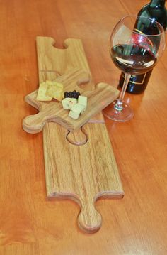Wine Glass Holding Plates / Cutting Boards / Extra Long Serving Tray / Red Oak / Puzzle Pieces (Set of 4) on Etsy, $80.00