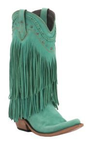 Liberty Black Women's Turquoise Vegas T-Moro Fringe Snip Toe Western Fashion Boots | Cavender's