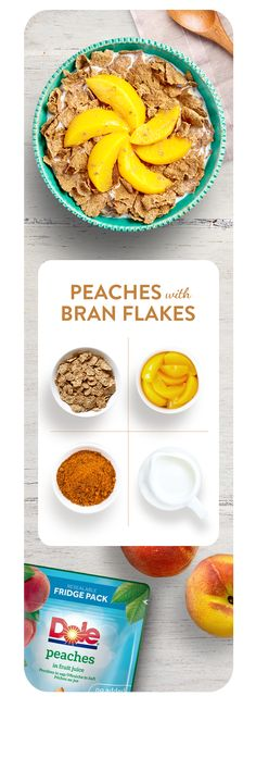 Enjoy Dole Peaches on your choice of crunchy cereal. Add a pinch of cinnamon to waken the taste buds and kick-start your day.  Ingredients: Dole Peaches (find us in the tinned fruit aisle), milk, cereal and cinnamon.