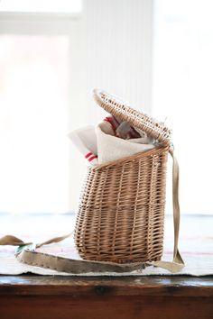 vintage french fishing basket
