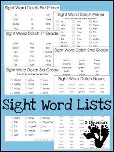 3 Dinosaurs - Sight Word Lists
