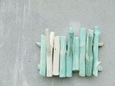 Mint branch wall hanging wooden hook ombre shabby chic jewelry organizer housewares kitchenwares key holder by Victor Baymut under 50