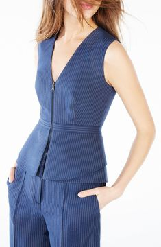 Bcbgmaxazria Pinstriped Peplum Top Work Dresses For Women, Suits For Women, Clothes For Women, Fashion Line, Girl Fashion, Fashion Dresses, Power Dressing, Professional Outfits, Office Fashion