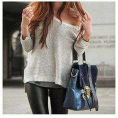 Love the sweater and the leather pants