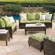 Patio furniture- I'd like pretty comfy patio furniture in the living area. It feels like a sunroom and I always feel so trapped by the summer. Can't go outside and it drives me crazy. I'd like to feel I was outside.