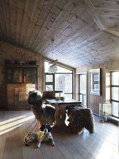 A timber-lined cottage in Norway.