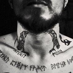 Amazing viking tattoo with runes!!!