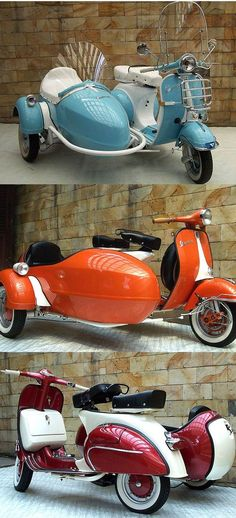Vespa with Sidecar - How Cool is That? Vespas with Sidecars Moto Vespa, Scooters Vespa, Lambretta Scooter, Scooter Motorcycle, Gas Scooter, Piaggio Vespa, Retro Motorcycle, Motorcycle Quotes, Vintage Vespa