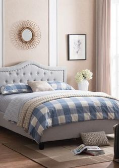 Upholstered Queen Bed Set Beach Bedding Sets, Queen Bedding Sets, Queen Beds, Bedroom Furniture Makeover, Bedroom Furniture Design, Bedroom Decor, Master Bedroom, Furniture Ideas, Upholstered Platform Bed