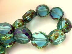 Aqua & Mossy Picasso  Picasso Czech Glass Window Cut Beads