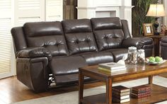 Anniston Dark Brown Faux Leather Double Reclining Sofa