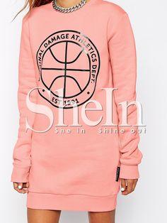 Pink Tees Long Sleeve Pattern Print Dress -SheIn(Sheinside)
