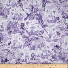 Michael Miller Flower Fairies Dreamland Metallic Lilac from @fabricdotcom  Designed by The Estate of Cicely Mary Barker and licensed to Michael Miller, this cotton print is perfect for quilting, apparel and home decor accents. Colors include white, shades of purple, and silver metallic glitter.