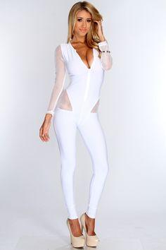 b22b8e41e93 White Netted Decor Plunge Neckline Bodycon Jumpsuit