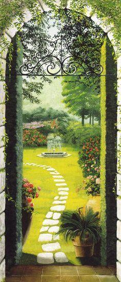 Vista dal Porticato Trompe l'oeil Door Mural