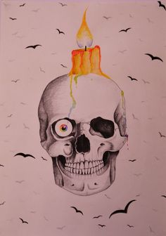 #11 Skull- Pencil drawing/watercolors