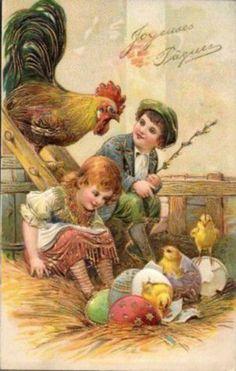Vintage Postcard Chickens Easter Eggs